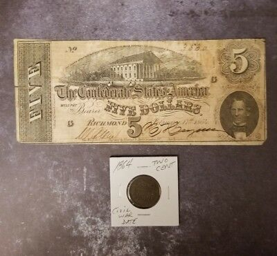 1864 $5 Confederate Note & A Civil War Dated 2 Cent Coin Free Shipping