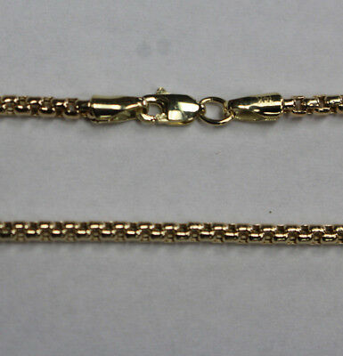 "14Kt 14K Yellow Solid Gold 18"" 20"" 24""  2.5mm Round Box Necklace Chain Lobster"