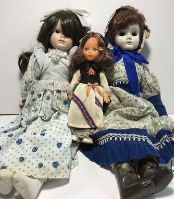 Lot of 3 Vintage Dolls 2 Creepy Decor China Porcelain Dolls Eyes Move 1 Plastic