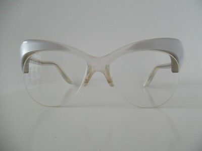 "Vintage Exotic Pearly /Violet & Clear Ladies ""Premiere"" Hand Made Cateye Glasses"