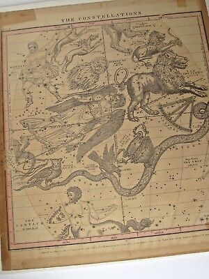 Antique1856 Burritt Huntington Map of Constellations in April, May and June