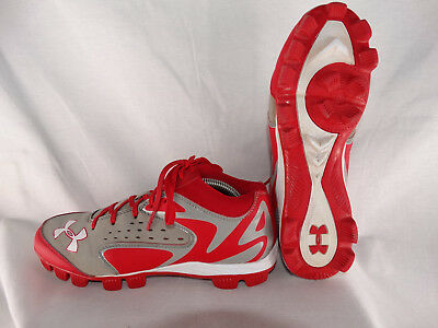 Under Armour Leadoff Mid Baseballschuhe Cleats 1246738-026 grau-rot EU 41 US 8