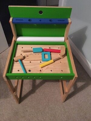Kids Wooden Work Tool Bench Drawing Desk Pretend Play Toys Paint Workshop  Gift