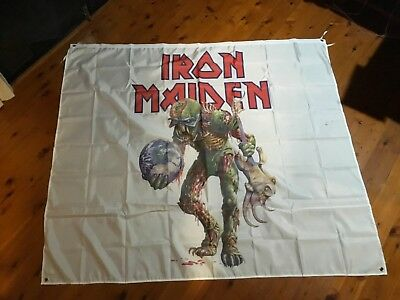 Man Cave Work Shop Garage Shed Bar Sticker Flag banner - heavy metal iron maiden