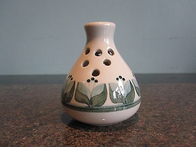 Jersey Pottery - Bud / Posy Vase - Blue / Green Leaf Design