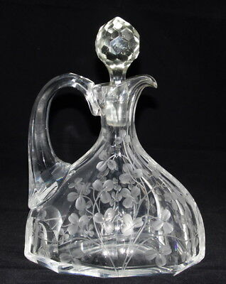 Antique Engraved Lead Crystal Pitcher Jug Stopper Grey Cut Clover Unknown Maker