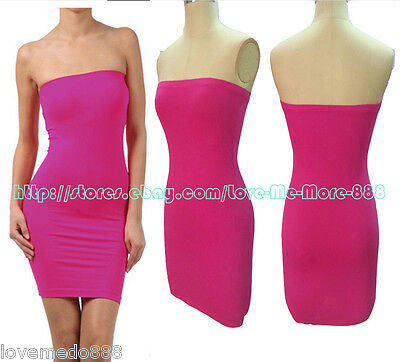 b95e351700 Basic Casual Club Party Tube Strapless Stretch Slim Fitted Mini Dress PINK  Small