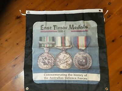East Timor war medals  - Man Cave Work Shop Garage Shed Bar Coaster Flag banner