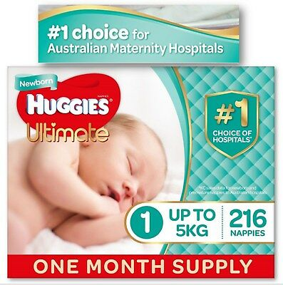 Huggies Baby 216 Bulk Nappies Unisex Newborn Up To 5kg One-Month Supply Boy Girl