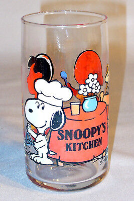 Vintage 1965 Snoopy's Kitchen Glass Lucy Charlie Brown Woodstock Peanuts