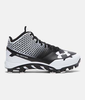 UNDER ARMOUR 1274407-011 Baseball Softball high top cleats Black Whit YOUTH Shoe