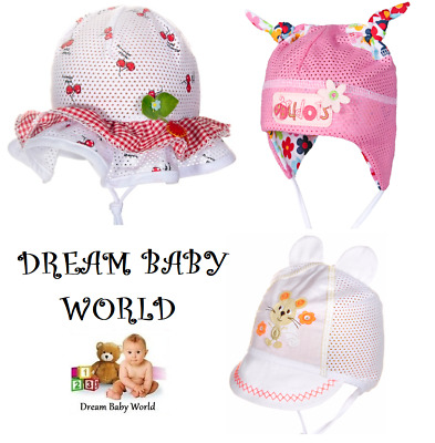 100% Cotton girls sun hat bonnet Summer TIE UP Baby CAP 0-24 months 2-3 Years