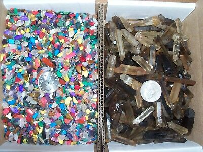 10 citrine smokey quartz crystal points healing and 100 small gemstones per lot