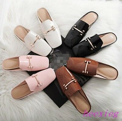 551e192fc60 Womens Mules Loafers Shoes Slip Ons Metal decor Square Toe Patent Leather  Slides