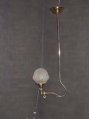 """Ant/Vintage, Victorian, brass, GAS/ELECTRIC, re-wired, J shape chandelier 30"""" T"""
