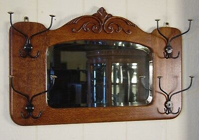 Antique Oak Wall Mirror with hooks