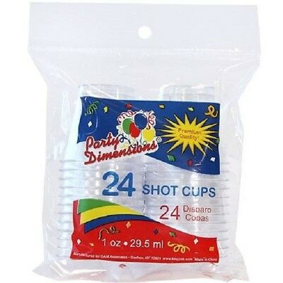 24 Plastic Shot Cups 1 oz Glasses Bar Catering Wedding Birthday Parties Events