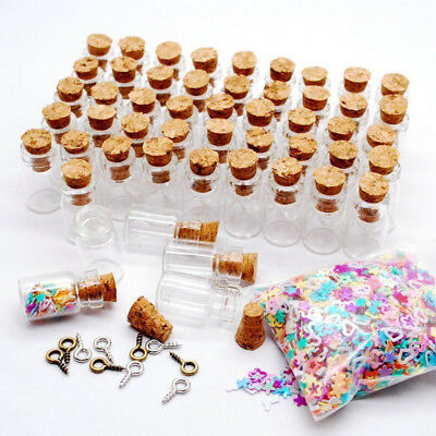 Cute 0.5/1/2ML Mini Small Bottle Cork Stopper Glass Vial Jars Container Bulk Lot