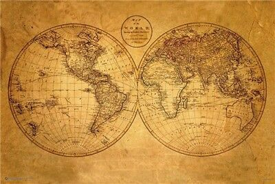 OLD WORLD MAP POSTER - 20'' x13''inches ANTIQUE GEOGRAPHY VINTAGE 01