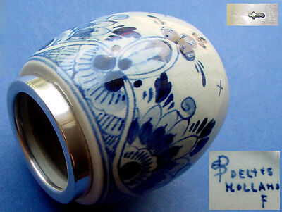 Antique Delft Vase with Silver Gear Knob, Hand Painted K918