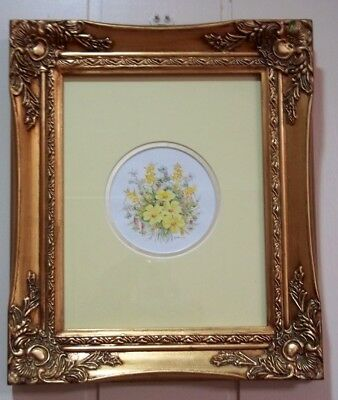 Pair of Minature Floral Watercolours by M Wright .