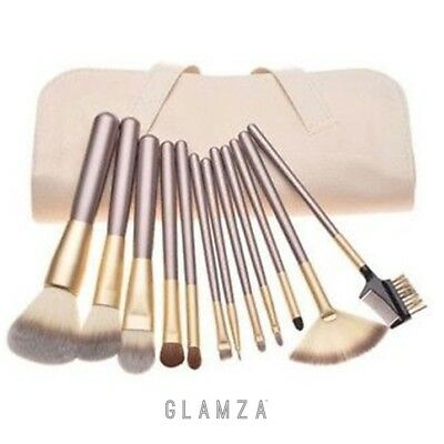 Glamza Pro 12pc Champagne Face Eye Brow Lip Contour MakeUp Brushes Set In White