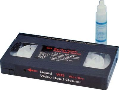 VHS VCR Head Cleaner Kit for Video Tape Cassette Wet System with Cleaning Fluid