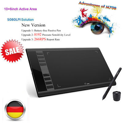 10x6'' Ugee M708 Digital USB Grafik Tablet Grafiktablett Zeichnung Touchpad Pen