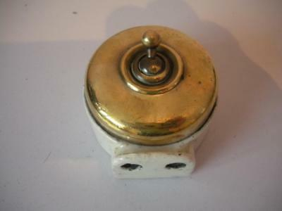 Antique Rare Ceramic Toggle Light Switch With Plug Socket