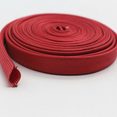 Vulcan Red Heat Protector Woven Sleeve Spark Plug Wire 10mm ID X 25ft 7.5m