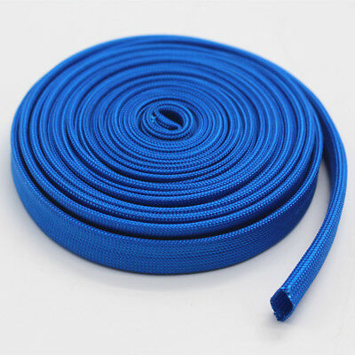 Vulcan Blue Heat Protector Woven Sleeve Spark Plug Wire 10mm ID X 25ft 7.5m