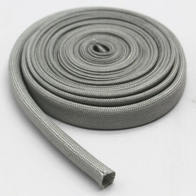 Vulcan Gray Heat Protector Woven Sleeve Spark Plug Wire 10mm ID X 25ft 7.5m