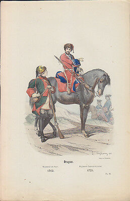 C1 Histoire Armee GRAVURE COULEURS PHILIPPOTEAUX 1850 Dragons 1762 1725