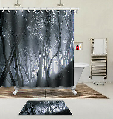 Mist Forest Shower Curtain Set Polyester Fabric Curtains Bathroom Extra Long