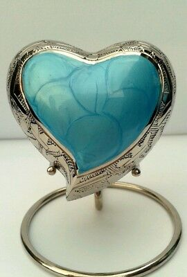 FREE STAND INCLUDED - Beautiful Heart Keepsake Urn for Ashes - Aqau / Silver