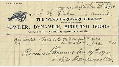 1900 Receipt - The Weade Hardware Store - Powder, Dynamite,  Sporting Goods - VT