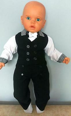 Baby Boy Suit Outfit Waistcoat Smart Wedding Check Christening Baptism 3 6 9 12M