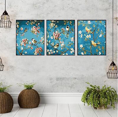 Set of Three Canvas Paint By Number Kit 3*40*50cm Birds Tree F3P014 S4