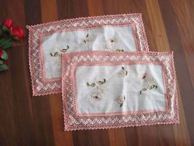 Two Pretty Flower Embroidery Pink White Mixed Crochet Lace Table Topper Runner