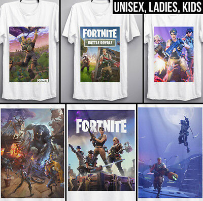 Fortnite T Shirt gaming Battle Royale game Twitch top tee logo cover adults kids