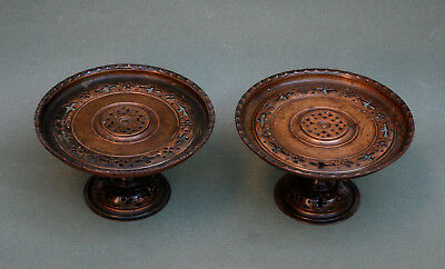 Pair Antique French Bronze Stands Tazzas In Islamic Style Eugene Cornu Signed