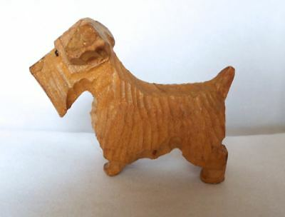 Small Old Carved Wood Sealyham Terrier Dog Figurine c1938 - 1940 Art Deco