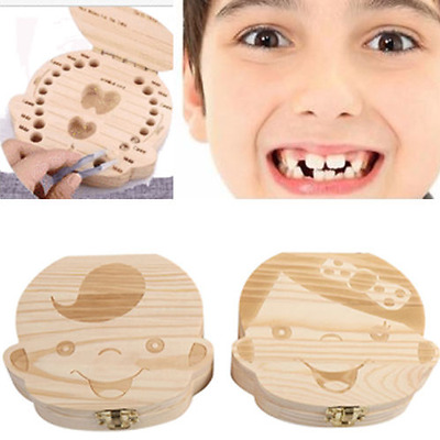 Kids Boy Girl Tooth Organizer Box Baby Milk Teeth Save Wood Teeth Storage case