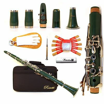 NEW Rossetti Key of Bb Student Band Clarinet B Flat GREEN with Deluxe Case