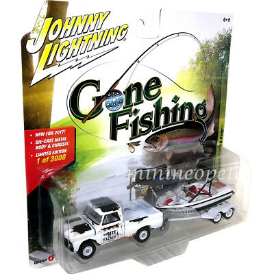 JOHNNY LIGHTNING JLBT004 A GONE FISHING 1965 CHEVY TRUCK 1/64 BOAT & TRAILER RED Contemporary Manufacture