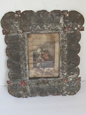 Antique New Mexican Isleta Pueblo Tin Frame St. Bruno Litho