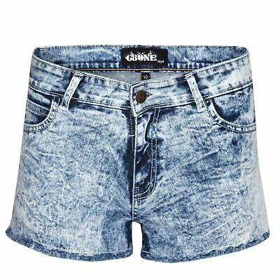 Women's Ladies Blue Acid Dark Wash Denim Hot Pants Stretch Summer Jeans Shorts