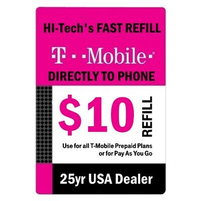 $10 T-MOBILE PREPAID FAST DIRECT ONLINE REFILL 25yr USA TRUSTED DEALER