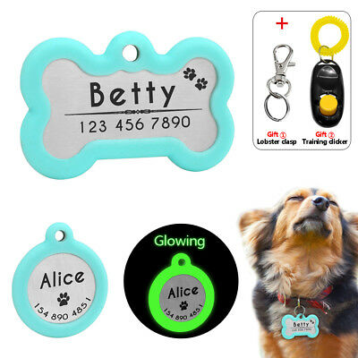 Silencer Personalized Dog Tags Bone Round Shape Cat Dog Tag Name Free Engraved