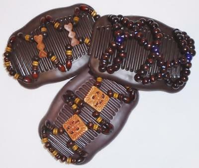 "Set of 3 Double Hair Combs, Angel Wings Clips 4x3.5"", African Butterfly, BROWNS"